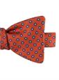 Silk Print Polka Dot Motif Bow Tie in Tangerine