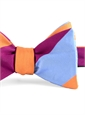 Mogador Silk Block Stripe Bow in Cobalt, Fuchsia, and Copper