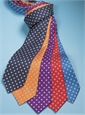 Diamond Printed Silk Tie in Navy