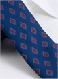 Wool Diamond Printed Tie in Regal Blue