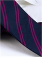 Silk Double Bar Stripe Tie in Navy