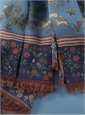 Cotton and Cashmere Blend Hunter Print Scarf in Pacific