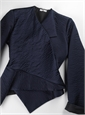 Marie Meunier Silk Flamande Wrap Blouse in Navy
