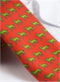 Silk Print Labrador Tie in Chili