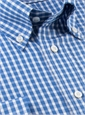 Medium Blue and White Check Button Down
