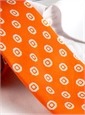 Silk Print Tie with a Circle Motif in Tangerine