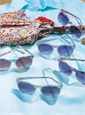 Liberty Sunglasses in Purple, Cinnamon, and Olive Large Floral Print