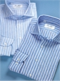 Sky Blue and White Bengal Stripe Cutaway Collar in Linen