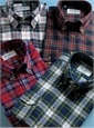 Midnight, White, and Red Plaid Brushed Cotton Button Down