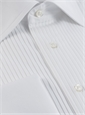 White Cotton Tuxedo Shirt with Very Narrow Pleats