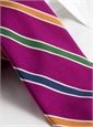 Silk and Cotton Stripe Tie in Fuchsia