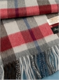 Wool and Alpaca Plaid Scarf in Grey, Red and Brown