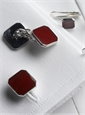 Sterling Silver & Burgundy Enameled Cufflinks and Stud Set
