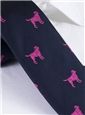 Silk Woven Lab Motif Tie in Navy and Magenta