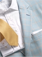 Cream and Sky Blue Glen Plaid Sport Coat with Gold Windowpane