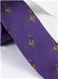 Silk Woven Pheasant Motif Tie in Violet