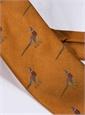 Jacquard Woven Pheasant Motif Tie in Amber