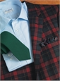 Wool and Cashmere Sport Coat in Midnight Blue, Tartan Green and Red Plaid