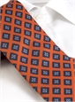 Mogador Silk Diamond Print Tie in Orange