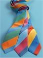 Woven Block Stripe Tie in Rose, Denim and Ice Blue