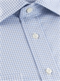 Light Blue & White Grid Check Spread Collar