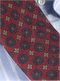 Wool Printed Medallion Motif Tie in Chianti