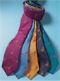 Silk Woven Pheasant Motif Tie in Teal