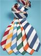 Silk Block Stripe Tie in Marine