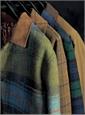 Moss Wool Field Coat with Windowpanes