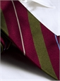 Silk Multi-Stripe Tie in Ruby and Field Green