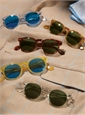 Semi-round Sunglasses in Amber with Green Lenses