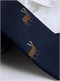 Silk Woven Elk Motif Tie in Navy