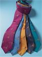 Silk Woven Pheasant Motif Tie in Cobalt