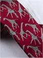 Silk Woven Giraffe Motif Tie in Cardinal