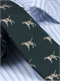 Silk Woven Tie with a Pointer Motif in Rifle