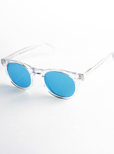 0c4f2f2d2 Semi-round Sunglasses in Clear with Blue Lenses