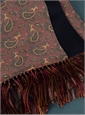 Silk Paisley Printed Scarf in Wine with Navy Cashmere Reverse