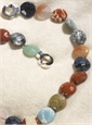 Single Strand Multicolor Semi-Precious Stone Coin Shape Beads