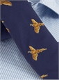 Silk Woven Pheasant in Flight Tie in Navy