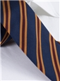 Mogador Woven Stripe Tie in Navy and Claret