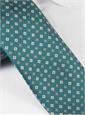Silk Neat Floral Print Tie in Teal
