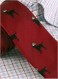 Silk Woven Christmas Dog in Holiday Red