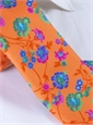 Silk Floral Print Tie in Apricot