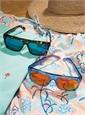 Large Rectangle Sunglasses in Transparent Blue