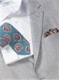 Silk Print Floral Tie in Steel Blue