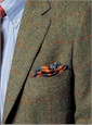 Green Harris Tweed Sport Coat with Gold and Orange Windowpane