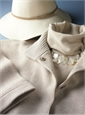 Ladies Wool Felt Wide Brimmed Hat in Vanilla