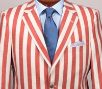 Jacket Wool Red Block Stripe