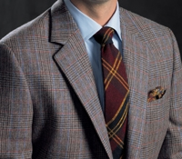 Saxony Glen Plaid Wool Sport Coat with Marine and Fire Windowpane