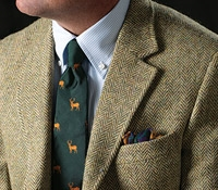 Sage and Cream Herringbone Harris Tweed Sport Coat